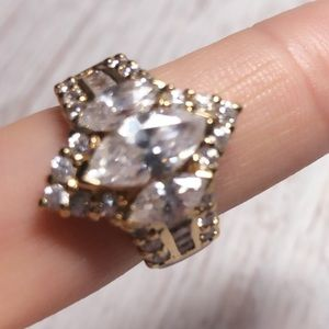 Huge LC Diamond Gold Stone Ring Size 8